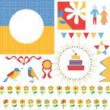 Il compleanno o il saluto del partito ha messo - le strutture, icone, bandiere Immagine Stock