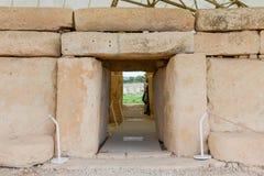 Il complesso del tempio di Hagar Qim ha trovato sull'isola di Malta Fotografie Stock Libere da Diritti