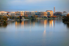 Il complesso di Watergate al tramonto in Washington DC Fotografia Stock Libera da Diritti