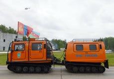 Il complesso mobile universale per il salvataggio e l'estinzione di incendio nei posti difficili da raggiungere al Noginsk salvan Immagini Stock