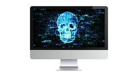 Il computer è rotto Incisione dell'informazione confidenziale Pirati informatici su Internet Fotografia Stock