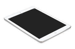 Il computer bianco della compressa con il modello dello schermo in bianco si trova sul surfa Immagini Stock