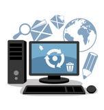 Il computer invia e riceve la posta royalty illustrazione gratis