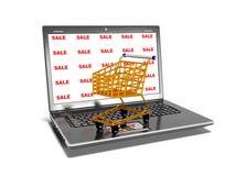 Il computer portatile, carrelli, vendita, concetto commerciale di Internet, 3d rende Fotografia Stock Libera da Diritti