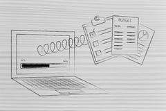 Il computer portatile con l'indicatore di stato ed il bilancio documenta schioccare da Th fotografia stock libera da diritti