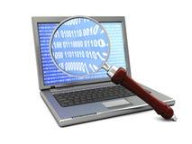 Il computer portatile ed ingrandice il vetro Fotografia Stock Libera da Diritti