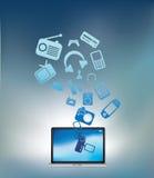 Il computer portatile esplode l'azzurro Fotografie Stock Libere da Diritti