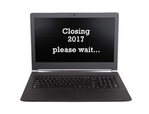 Il computer portatile ha isolato - nuovo anno - 2017 - 2018 Immagine Stock