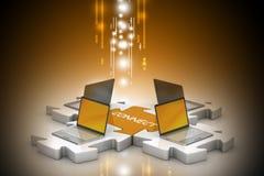 Il computer portatile si collega nei puzzle Fotografia Stock