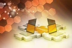 Il computer portatile si collega nei puzzle Fotografia Stock Libera da Diritti