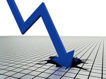 Freccia blu che colpisce il fondo Immagini Stock Libere da Diritti