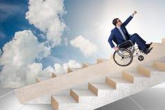 Il concepth di accessibilità con la sedia a rotelle per gli handicappati fotografia stock