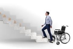 Il concepth di accessibilità con la sedia a rotelle per gli handicappati immagini stock