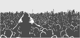 Il concerto, festival, la gente, felice, musica, folla, studente, l'estate, festa, in tensione, fa festa, balla, ballando, fondo, royalty illustrazione gratis
