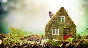Il concetto amichevole della casa di Eco con muschio ha riguardato il modello Immagine Stock