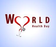 Il concetto astratto del giorno di salute di mondo con lo stetoscopio di medico ed il testo alla moda su fondo blu vector l'ENV 10 royalty illustrazione gratis