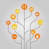 Il concetto astratto dell'illustrazione dell'albero dell'icona si è riferito al cinema, all'industria cinematografica, al video r Fotografie Stock Libere da Diritti