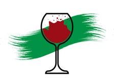 Il concetto biologico del vino, l'icona di vetro organica del vino rosso, la coltivazione biodinamica, il logo del bicchiere di v royalty illustrazione gratis