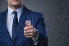 Il concetto biometrico dell'identificazione con le impronte digitali Fotografia Stock Libera da Diritti