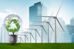 Il concetto con i mulini a vento - dell'energia alternativa rappresentazione 3d Fotografie Stock