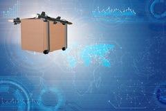 Il concetto con la consegna ed i razzi della scatola Immagini Stock Libere da Diritti