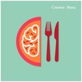 Il concetto creativo di idea del cervello con la forcella ed il coltello firmano sul backgrou Immagine Stock Libera da Diritti