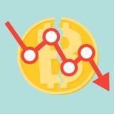 Il concetto Cryptocurrency Bitcoin si è diviso nel vettore piano di progettazione dei contanti di Bitcoin e di Bitcoin Immagine Stock Libera da Diritti