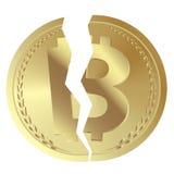 Il concetto Cryptocurrency Bitcoin si è diviso nel vettore piano di progettazione dei contanti di Bitcoin e di Bitcoin Immagine Stock