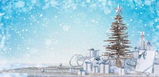 Il concetto 3d di feste, dei presente, del nuovo anno, di Natale e della celebrazione rende illustrazione vettoriale