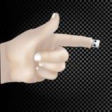 il concetto 3d si sviluppa dal bastone del dito su un fondo trasparente Fotografie Stock
