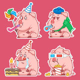 Il concetto degli autoadesivi del carattere del maiale ha messo 1 Fotografia Stock