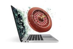 Il concetto dei casinò online, decolla dal computer portatile isolato su fondo bianco illustrazione 3D Fotografie Stock Libere da Diritti