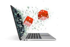 Il concetto dei giochi online, isolato su fondo bianco illustrazione 3D Fotografie Stock Libere da Diritti