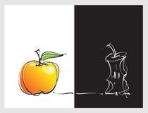 Il concetto del Apple, contrappone il positivo & la negazione Immagine Stock