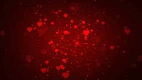 Il concetto del biglietto di S. Valentino con i cuori rossi modella circolare sul fondo rosso per il San Valentino della st illustrazione di stock