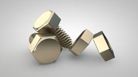 Il concetto del bullone e del dado cromati Immagine Stock