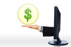 Il concetto del commercio elettronico/online di compera/sedere Internet/di commercio Fotografia Stock Libera da Diritti