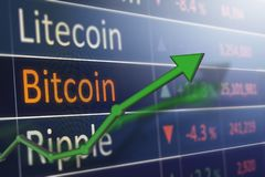 Il concetto del mercato azionario e di investimento guadagna e profitti con i grafici sbiaditi del candeliere fotografie stock