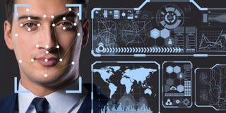 Il concetto del software e dell'hardware di riconoscimento di fronte immagine stock libera da diritti