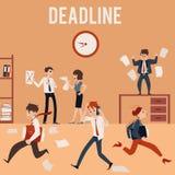 Il concetto del termine dell'ufficio e del caos, impiegati è occupato e nervoso illustrazione di stock
