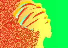 Il concetto dell'acconciatura con la bella ragazza, donne di colore vector la siluetta Concetto di progetto per i saloni di belle illustrazione di stock
