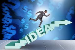 Il concetto dell'idea con le scale rampicanti di punti dell'uomo d'affari Immagine Stock Libera da Diritti