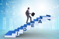 Il concetto dell'idea con le scale rampicanti di punti dell'uomo d'affari Immagini Stock