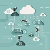 Il concetto dell'illustrazione di esplora la rete della nuvola Fotografia Stock