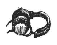 Il concetto dell'illustrazione di vettore delle cuffie passa annega l'illustrazione su fondo bianco illustrazione di stock