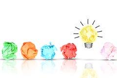 Il concetto dell'innovazione con pezzi di carta sgualciti variopinti multipli intorno ad una lampadina gialla della luce intensa  Immagine Stock Libera da Diritti