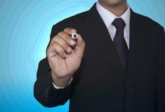Il concetto dell'uomo d'affari scrive l'indicatore bianco in bianco Fotografie Stock