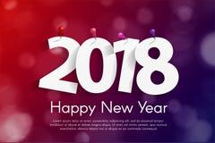 Il concetto 2018 della cartolina d'auguri del buon anno con carta cuted i numeri bianchi illustrazione di stock