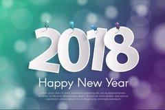 Il concetto 2018 della cartolina d'auguri del buon anno con carta cuted i numeri bianchi sui perni royalty illustrazione gratis