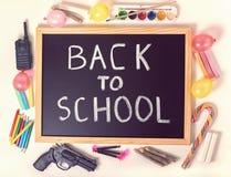 Il concetto della cima giù di istruzione con testo di nuovo alla scuola è writte Immagine Stock Libera da Diritti